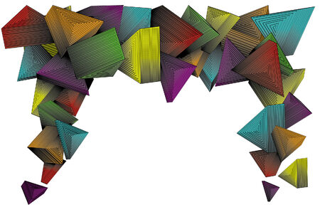 Three dimensional colorful triangles. Simple linear gradients used on color parts. Lines are separate from background colors for easy editing. Each triangle and its line art is grouped together. Easy to change colors and make your own.
