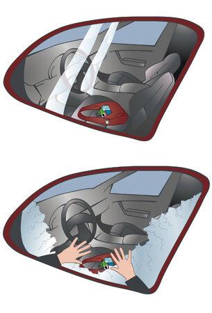 arracher: Image d'un sac laiss� dans une voiture et un autre avec fen�tre bris�e et mains tendues po du haut et du bas des fen�tres sont en couches s�par�es. Hand illustration image de fond est �galement de sa propre couche.