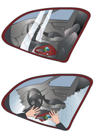break in: Image of a purse left in a car and another with window broken out and hands reaching in. top and bottom windows are on separate layers. Hand illustration on bottom image is also on its own layer. Illustration