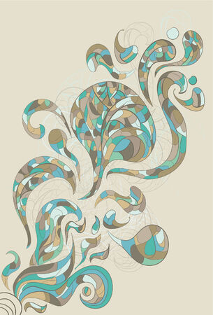 A design of swirling shapes with intricate patterns inside. Main design elements, outline background and background shape are all on separate layers. Colors and outline are separate to easily change colors.
