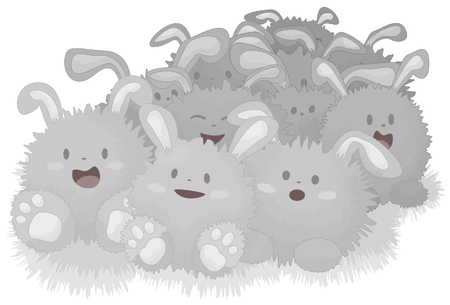expand: A collection of some dust bunnies on white background. Each bunny is grouped together on one layer. Bottom shading objects on separate layer. Easily remove or duplicate bunnies to expand the amount, each one is complete.