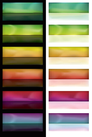 Note: Gradient Meshes are used. This is a set of glowing spectrum buttons on white and black backgrounds.  Ilustracja