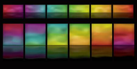 Opmerking: Kleurovergang mazen worden gebruikt. Dit is een set van gloeiende spectrum knoppen op een zwarte achtergrond. Spectrum beweegt horizontaal van links naar rechts.