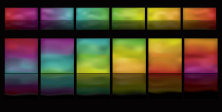 page down:  Note: Gradient Meshes are used. This is a set of glowing spectrum buttons on a black background. Spectrum moves horizontally from left to right.