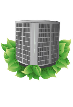 condenser: Condenser with leaves to indicate energy efficiency. Condenser and leaves are on a separate layer. Each leaf is grouped to make it easier to add or subtract. Illustration