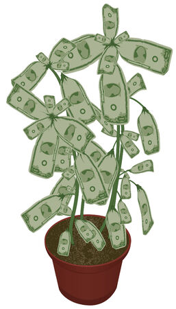 easy money: An illustration of a potted plant with money growing as leaves. Money leaves, stems and pot are all on separate layers. Each bill is grouped to make it easy to move.