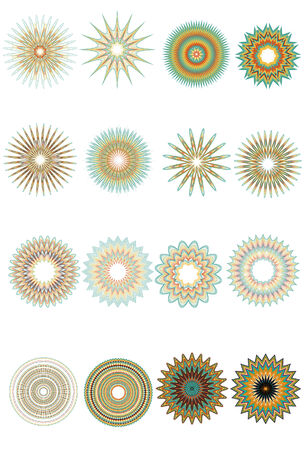 A collection of 16 ornate circular patterns. Each group is very detailed and made from a number of fine lines. Change stroke colors to make it your own.  Illustration