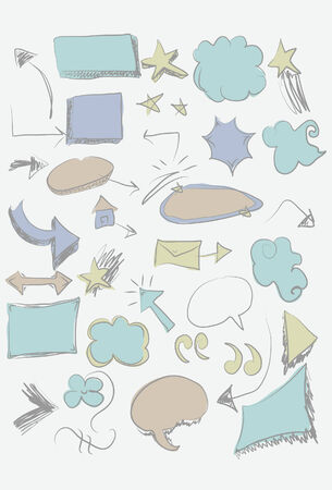 Collection of hand drawn shapes. Easy to change colors.  Vector