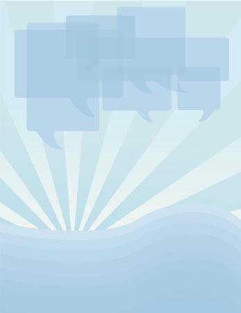 Overlappende tekstballonnen op een Sunray achtergrond. Tekstballonnen en achtergrond elementen worden op verschillende lagen.
