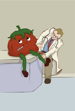 medical exam: A doctor gives a medical exam to a tomato