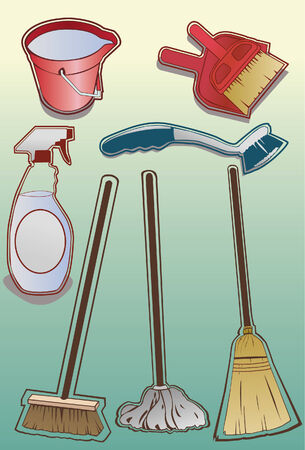 mop: A set of cleaning supplies done in a hand drawn style. Some linear gradients used. Line art is separate from fill, very easy to change colors. Each item is grouped on its own layer.