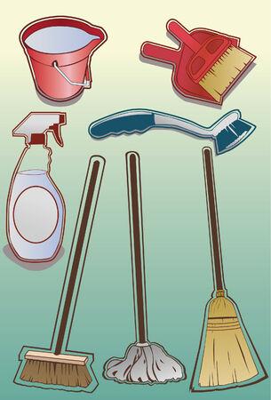cleaning equipment: Una serie di pulizia fatto a mano in un tratto di stile. Alcuni gradienti lineari utilizzati. Linea d'arte � separata da riempire, molto semplice per cambiare i colori. Ogni elemento � raggruppati su un proprio livello.