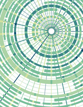 concentric: Background in green with concentric circles and radial dividers. Each grouping of top and bottom circles and radial dividers are grouped on own layer. Each to change colors. Can add another solid color in back where it shows white.