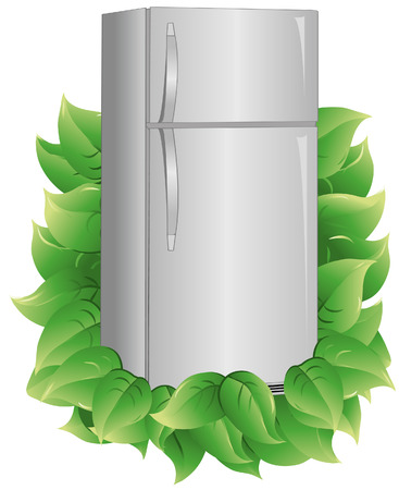 indicate: Refrigerator with leaves to indicate energy efficiency. Refrigerator and leaves are on a separate layer. Each leaf is grouped to make it easier to add or subtract.