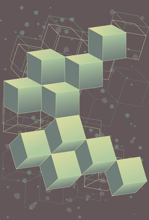 EASE: Collection of 3D cubes in a retro, outer space themed design. Cubes, back outlines and background elements are all on separate layers for ease of use. Cube faces are created by use of a simple two color gradient. Very easy to change colors or alter.
