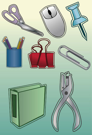 separate: A set of office supplies done in a hand drawn style. Some linear gradients used. Line art is separate from fill, very easy to change colors. Each item is grouped on its own layer.