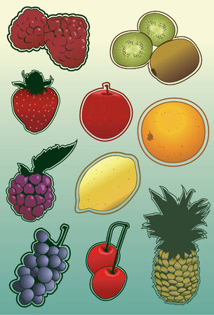 Note that radial gradients are used on kiwi, grapes and orage illustration. Each fruit is grouped on its own layer. Outlines and fill are separate, easy to manipulate and change colors