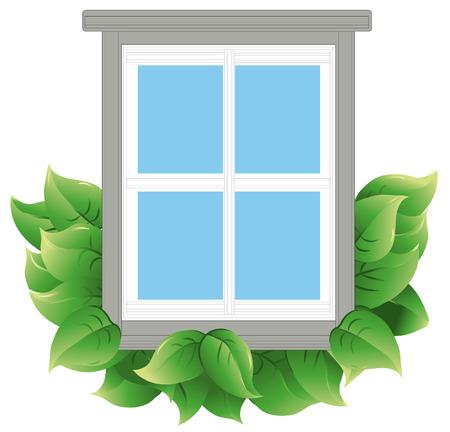 Venster met bladeren om aan te geven van de energie-efficiëntie. Venster en bladeren zijn op een aparte laag. Elk blad is gegroepeerd om het gemakkelijker te voegen of te verwijderen.  Stockfoto - 5122309