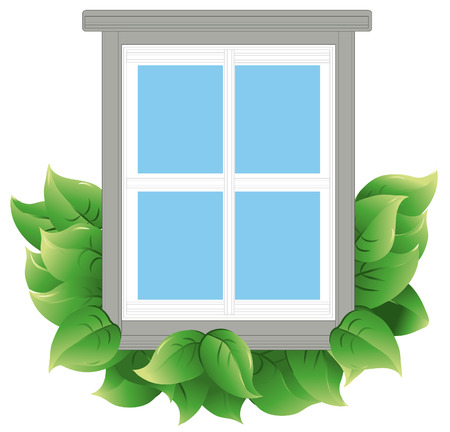 Window with leaves to indicate energy efficiency. Window and leaves are on a separate layer. Each leaf is grouped to make it easier to add or subtract.
