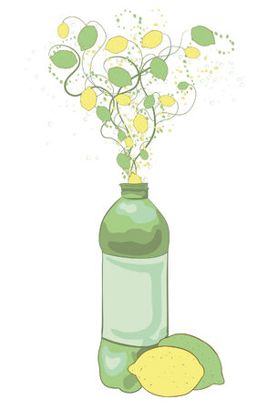 carbonated: Illustration of a bottle with lemons, limes and swirls coming out of the top. Large fruit at bottom, bottle, swirls, medium fruit, small fruit and bubbles are all located on their own layers for ease of use.