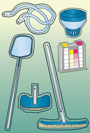 remplir: Un ensemble de pool de nettoyage des fournitures faits dans une main tir� de style. Certains d�grad�s lin�aires utilis�s. Art de la ligne est distinct de remplissage, tr�s facile � modifier les couleurs.