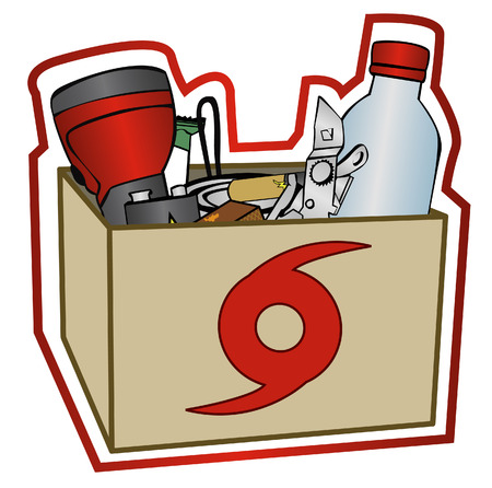 can opener: Group of some items recommended for a hurricane prep kit in a box. Each item is grouped together on the same layer.