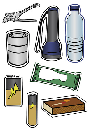 can opener: Group of some items recommended for a hurricane prep kit.