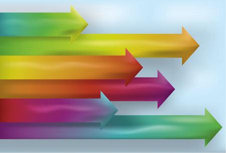 Opmerking: Kleurovergang mazen worden gebruikt. Een collectie van 6 pijlen gemaakt door gebruik van een Verloopnet. Elke pijl en de achtergrond op aparte lagen.