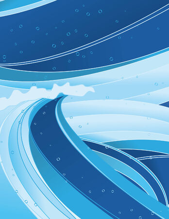 squall: An abstract wave background design. Each collection of waves is on a separate layer, as is the background and bubbles. Strokes are separate, easy to change colors. Wave fills are simple linear gradients.  Illustration