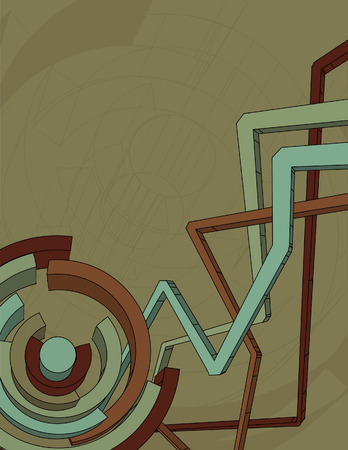 Top lines, main circular elements, background lines and background are all on separate layers. Vector