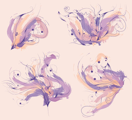 Lines, painted elements and background color are all on separate layers. Lines and sketchy shapes are all separate elements. Stock Vector - 5268525