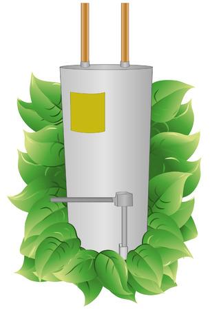 calentador: Calentador de agua con hojas para indicar la eficiencia energ�tica. Calentador de agua y las hojas est�n en una capa independiente. Cada hoja se agrupa para hacerlo m�s f�cil a�adir o restar.