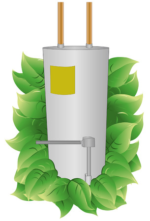 Water Heater with leaves to indicate energy efficiency. Water Heater and leaves are on a separate layer. Each leaf is grouped to make it easier to add or subtract.  Ilustração
