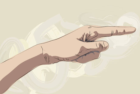 smears: Roughly drawn stylized pointing hand illustration. Lines, painted shading, background smears and color are all on separate layers.  Illustration