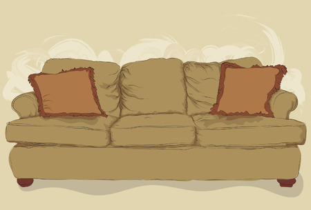 interior decoration: Illustrated messy styled hand drawn couch. Lineart, pillows, shading, fill and background elements are all on separate layers. Easy to change color of the couch.