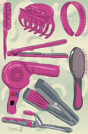 hair dryer: Messy stylized hair care products. Each item is on its own layer, painted effect and background gradient is also on its own layer. Easy to change colors.