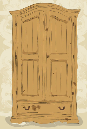 Illustrated messy styled hand drawn armoire. Lineart, shadingfill and background elements are all on separate layers. Easy to change colors. Vector