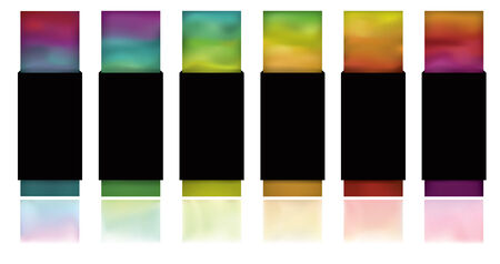 drop down: Note: Gradient Meshes are used. This is a set of glowing colorful buttons on a white background with flat black wrapping and reflections.  Blank copy space, colorful mesh objects, reflections and wrap tabs are all on separate layers.