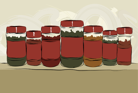Collection of messy, hand drawn spice bottles lined up with copy space on labels. Outlines, color fill, paint strokes and background are all on separate layers