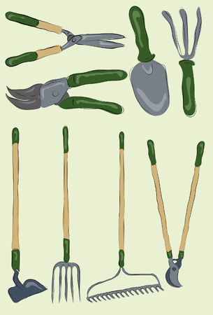 hedge clippers: Messy stylized gardening tools. Each item is on its own layer, background is also on its own layer. Easy to change colors