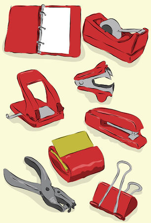 Messy stylized office supplies. Each item is on its own layer, background is also on its own layer. Easy to change colors.