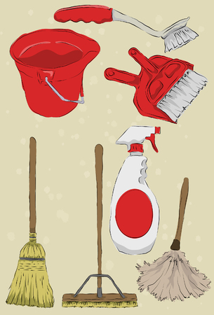 dust pan: Messy stylized cleaning items. Each item is on its own layer, background is also on its own layer. Easy to change colors.  Illustration