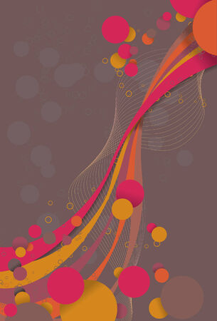 dropshadow: Abstract background with flowing circle bubbles and ribbon like lines. Each collection of elements (larger circles, ribbons, smaller circles, lines, dropshadow and background) are all on separate layers