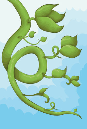 Illustrated vine in a hand drawn style with a cloudy background. Main vine portion, leaves, outline and background are all on separate layers.  Illustration