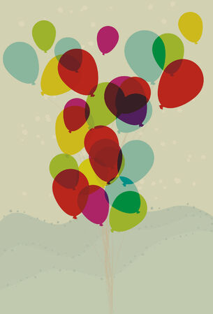 Balloons, background spots, foreground fills are all on separate layers. Transparent effect simulated. Illustration