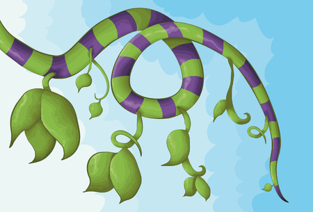 Illustrated vine in a hand drawn style with a cloudy background. Main vine portion, leaves, outline and background are all on separate layers.  Ilustração