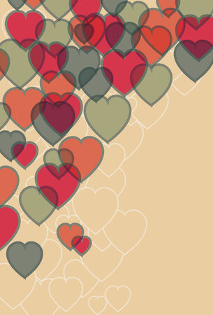Transparent effect simulated. Main hearts, background outlines, background fill are all on separate layers.  Vector