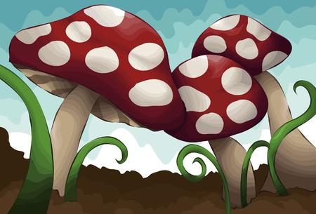 agaric: Hand drawn illustrated group of mushrooms. Each mushroom, grass, dirt and sky are all on separate layers.