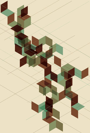 separate: lines, geometric elements and background all on separate layers. Transparent effect is simulated.  Illustration