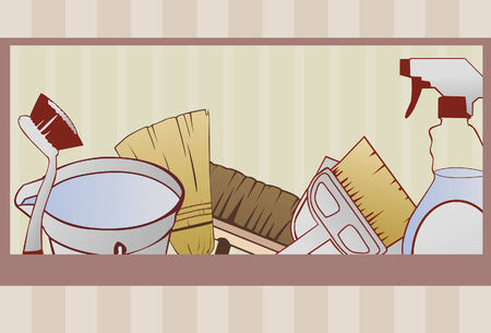 A cleaning supply background done in a hand drawn style. Some linear gradients used. Cleaning items are grouped on same layer. Red border and background are on separate layers. Items are complete and cropped via clipping mask.  Ilustracja